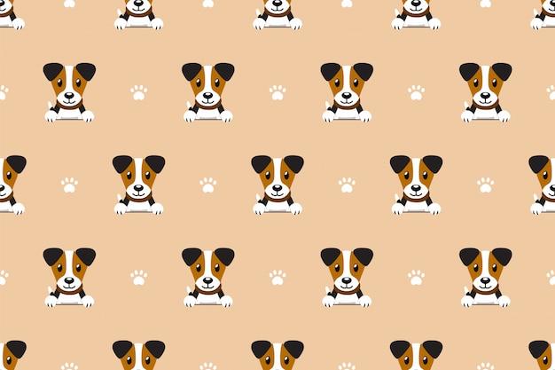 Cartoon jack russell terrier dog seamless pattern