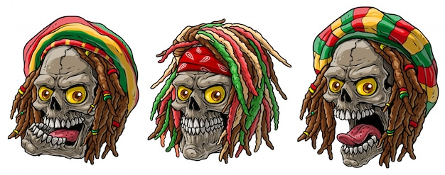 Cartoon jamaican rasta skulls with dreadlocks