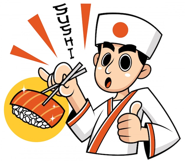 Cartoon japanese chef presenting food. wording meanings : sushi