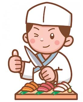 Cartoon japanese chef