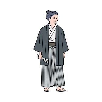 Cartoon japanese man in traditional costume standing . ancient japan warrior or monk in kimono style clothes -