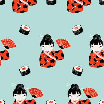 Cartoon japanese pattern design.