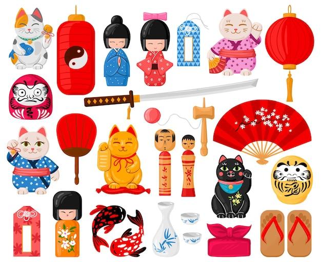 Мультяшные японские символы. восточные традиционные игрушки, манэки-нэко, омамори, дарума и куклы кокэси набор векторных иллюстраций. милая японская культура. традиционная японская восточная культура, японский сувенир