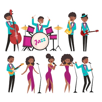 Cartoon jazz artists characters singing and playing on musical instruments. contrabassist, drummer, saxophonist, guitarists and singers. music band concept.     illustration.