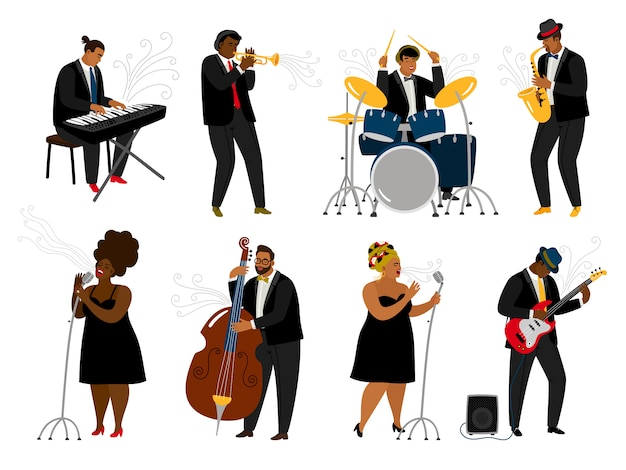 Cartoon jazz band musicians