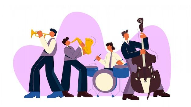 Cartoon jazz band play music on saxophone, trumpet, drum and bass guitar   illustration