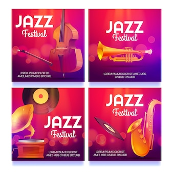 Cartoon jazz festival posts