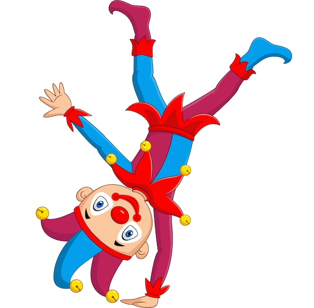 Cartoon jester standing upside down