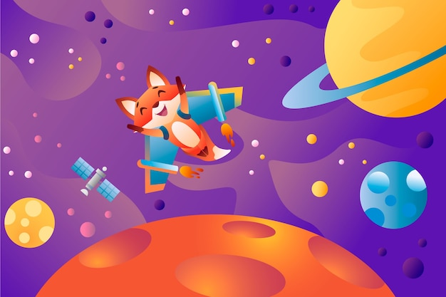 Cartoon jet fox flying in open space