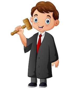 Cartoon the judge holding a hammer in hand