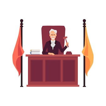 Cartoon judge man holding gavel sitting behind wooden bench desk with flags