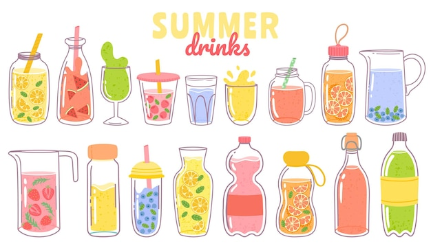 Cartoon juice and lemonade. refreshing summer drinks with lemon in glass, bottle or jug. fruit or berry beverages and cocktails vector set. cup with straw, citrus and mint leaves isolated