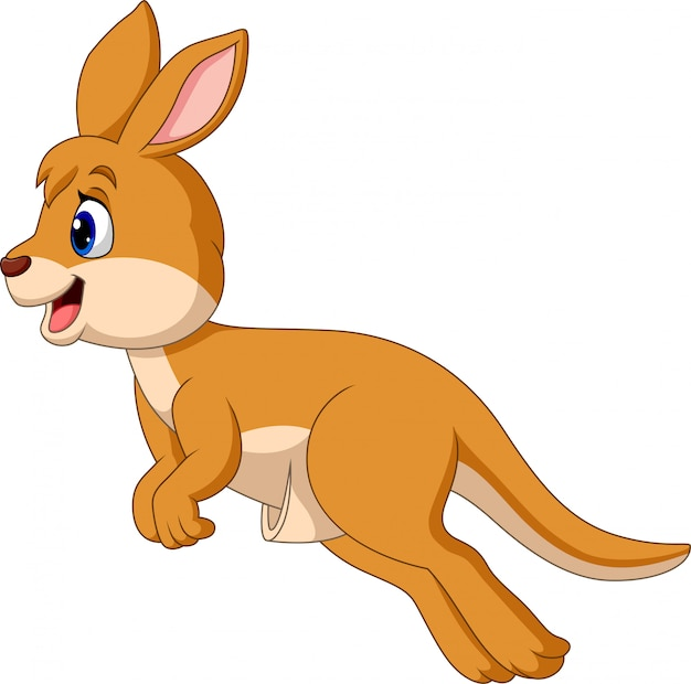 Cartoon jumping kangaroo isolated on white background