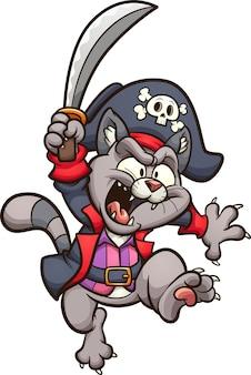 剣で漫画ジャンプ海賊猫。クリップアートイラスト。