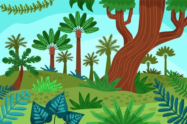 Cartoon jungle background with beautiful tall trees