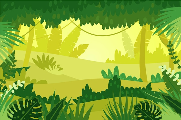 Cartoon jungle background with monstera plant