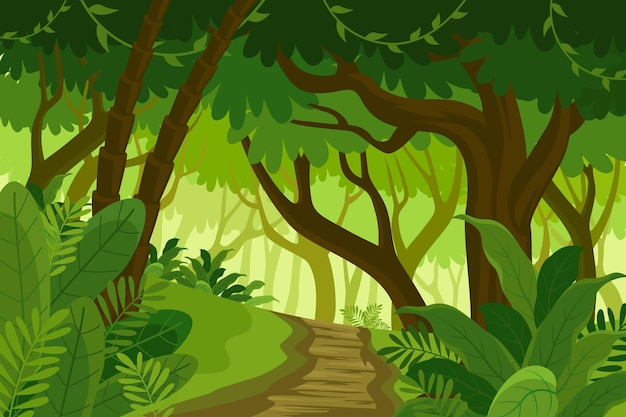 Cartoon jungle background with pathway through exotic plants
