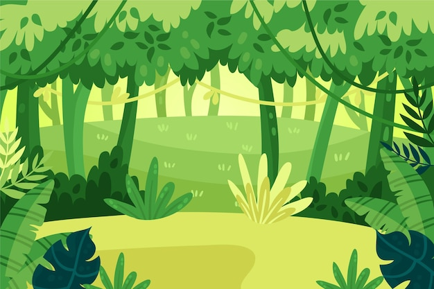 Cartoon jungle background with tall trees and lianas
