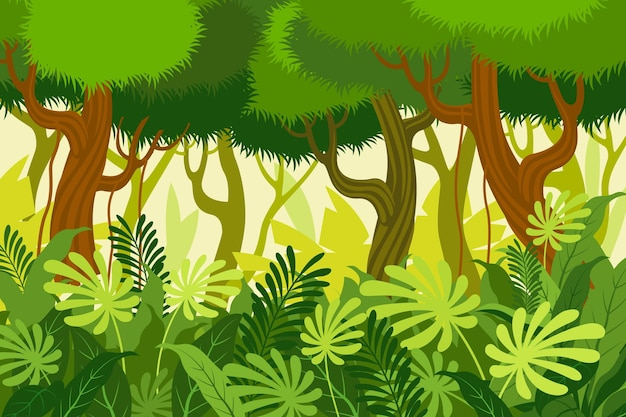 Cartoon jungle background with tall trees