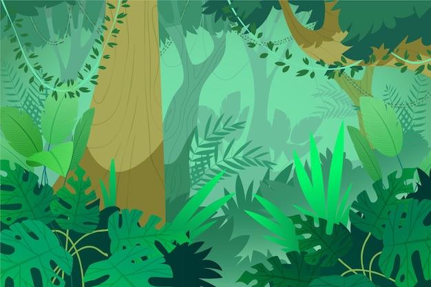 Cartoon jungle background Premium Vector