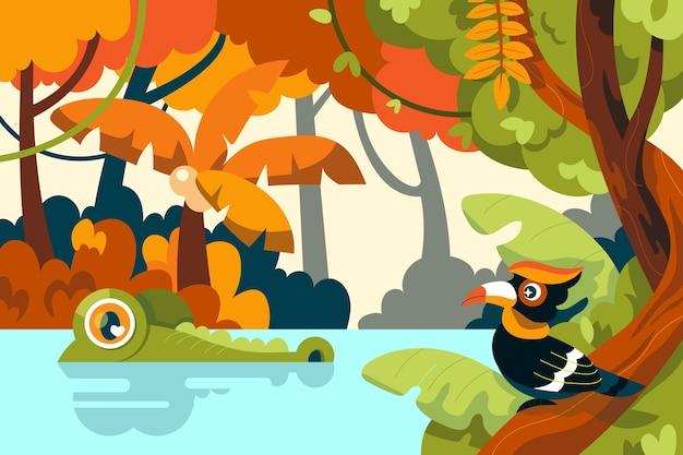 Cartoon jungle background