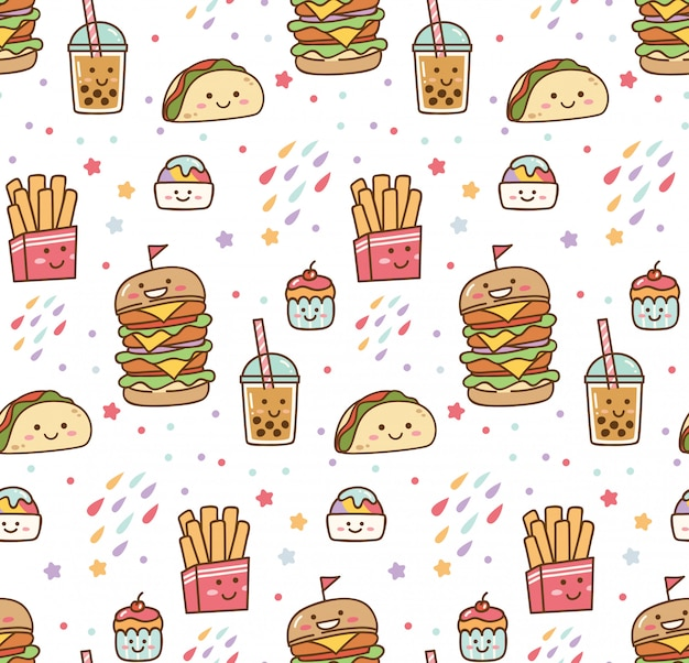 Cartoon junk food kawaii seamless pattern