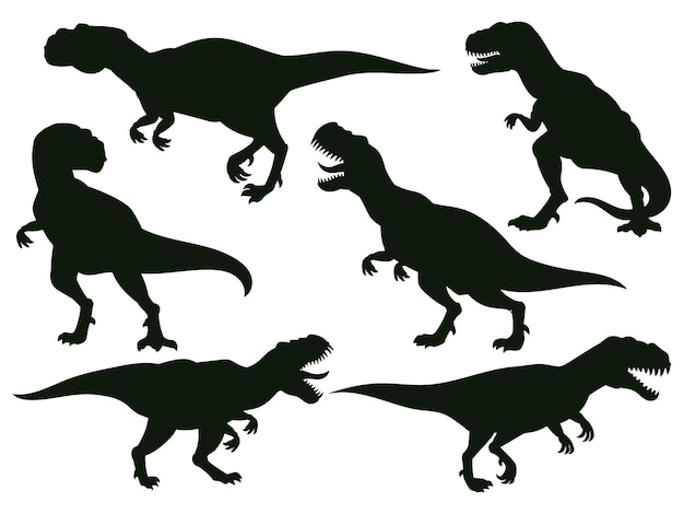 漫画のジュラ紀の捕食者ティラノサウルスレックス、絶滅したt-レックスのシルエット。ジュラ紀の古代の捕食者、t-rexラプターモンスターベクトルイラスト。ティラノサウルスレックスのシルエット、巨大なモンスターと恐竜