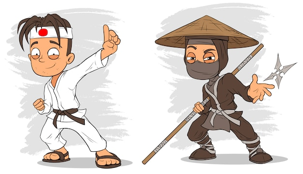 Cartoon karate boy and ninja characters  set