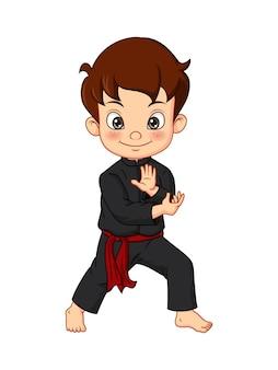 기모노 훈련 가라테를 입고 만화 가라테 소년