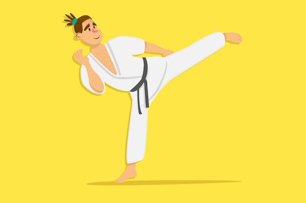 Cartoon karate man wearing kimono training