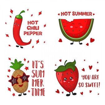 漫画かわいい食べ物 - パイナップル、チリペッパー、イチゴ、スイカ