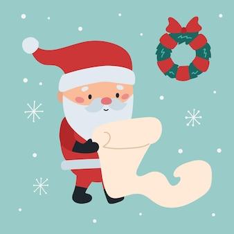 목록과 함께 만화 귀여운 산타 클로스