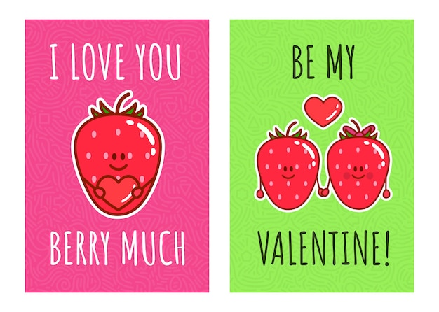 Cartoon kawaii strawberries. cute couple berries with typography: i love you berry much, be my velentine. illustration for valentine's day and romantic cards.