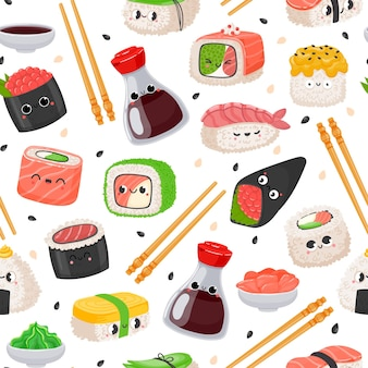 漫画カワイイ寿司絵文字文字シームレスパターン。かわいい日本食、サーモンのライスロール、おにぎり、醤油。刺身ベクトルテクスチャ。箸を使ったアジアの伝統料理
