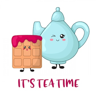 Cartoon kawaii sweet food with tea pot or kettle and viennese waffle