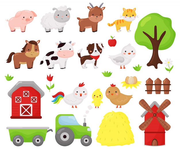 Cartoon kawaii vector set of farm animals: sheep, cow, dog, cat, horse, goat and chicken. farm objects, barn and windmill. illustration for kids.