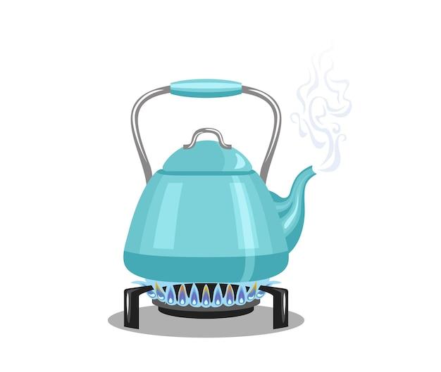 Мультфильм чайник на газовой плите.