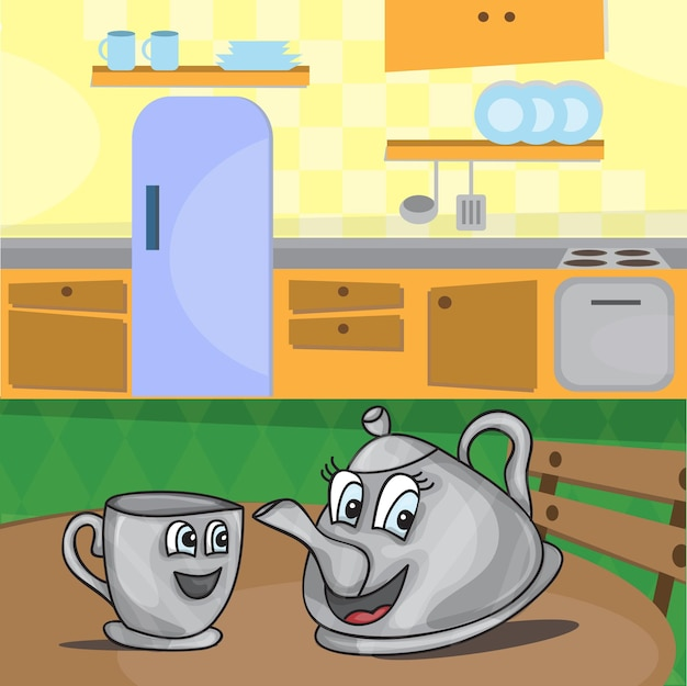 Cartoon kettle with eyes and a cup - vector