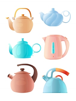 Cartoon kettles. big set of various teapots