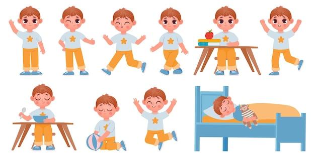만화 꼬마 소년 캐릭터 포즈, 제스처, 애니메이션 표현. 행복한 학교 아이가 놀고, 자고, 흔들며 벡터 세트를 실행합니다.
