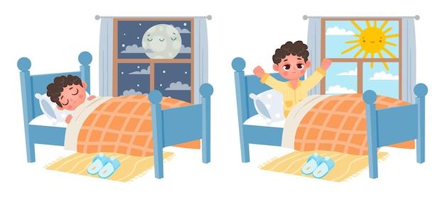 만화 꼬마 소년은 밤에 잠을 자고 아침에 일어납니다. 달이나 태양이 있는 침대와 창문에 있는 아이. 달콤한 꿈과 건강한 수면 벡터입니다. 편안한 잠옷을 입고 잠을 자고 일어나는 삽화