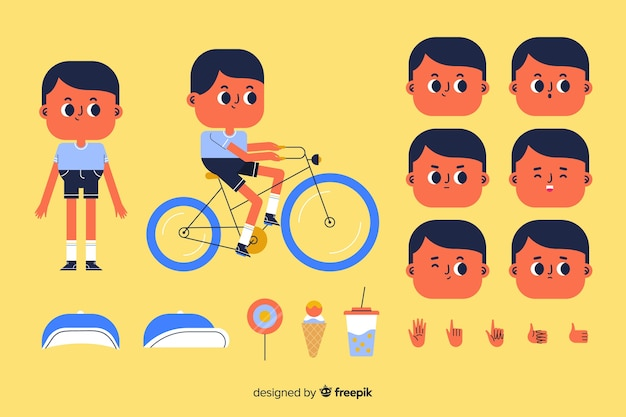 Cartoon kid character for motion design