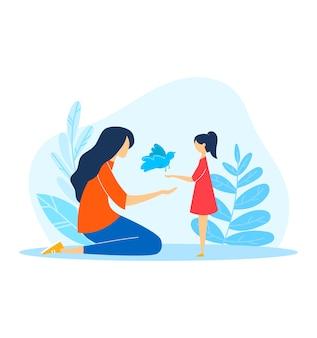 幸せな家族、イラストの漫画の子供人。女性キャラクターは白の娘の子供のための動物を保持します。
