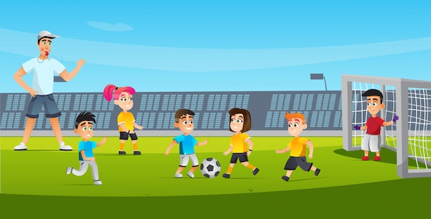 Cartoon kid play football referee blowing whistle