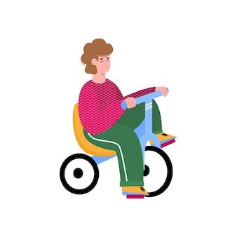 Мультфильм ребенок езда маленький велосипед вертолет с сиденьем, маленький мальчик сидит на трехколесном велосипеде дрейфа и улыбается, изолированные на белом фоне. векторная иллюстрация.
