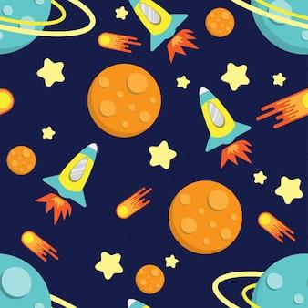 Мультфильм парень ракеты галактики шаблон бесшовные