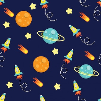 Cartoon kid rocket galaxy pattern seamless