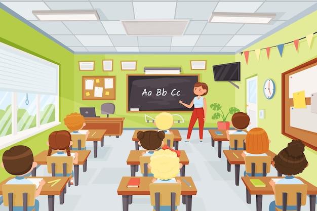 Мультяшные дети и учитель в классе учеников начальной школы, изучающих молодых студентов на уроке