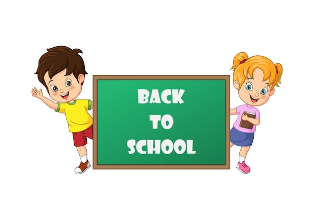 Cartoon kids back to school standing behind blackboard