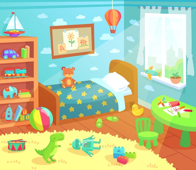 Cartoon kids bedroom interior.